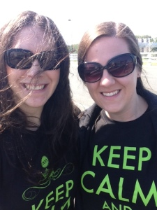 "Hideous picture of me, but we are rockin' our ""KEEP CALM AND READ ON"" shirts!"